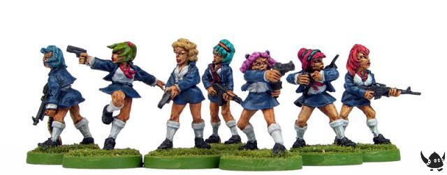 28mm Kung Fu Schoolgirls with Guns