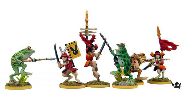 28mm Rabbit Samurai fight with Warrior Frogs