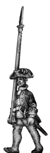 1756-63 Saxon Musketeer officer, marching with spontoon