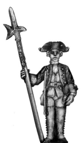 1756-63 Saxon Musketeer sergeant, at attention with halberd