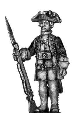 1756-63 Saxon Fusilier officer, at attention with musket