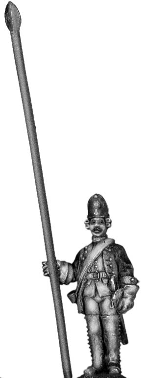 1756-63 Saxon Fusilier standard bearer, at attention