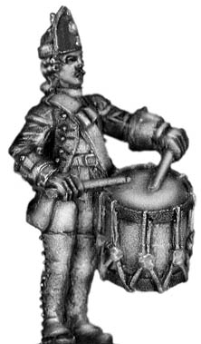 1756-63 Saxon Fusilier drummer, at attention