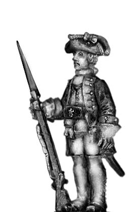 1756-63 Saxon Grenadier officer, at attention with musket