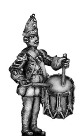 1756-63 Saxon Grenadier drummer, at attention