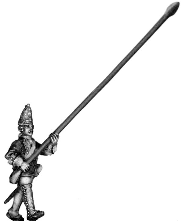1756-63 Saxon Guard Grenadier standard bearer, marching