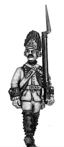 1761-78 Saxon Grenadier in Austrian bearskin, march-attack
