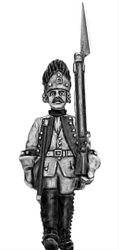 1761-78 Saxon Grenadier in Austrian bearskin, NCO, marching