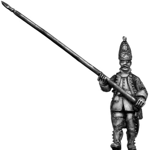 Dutch Grenadier Standard Bearer, marching, coat with cuffs and l