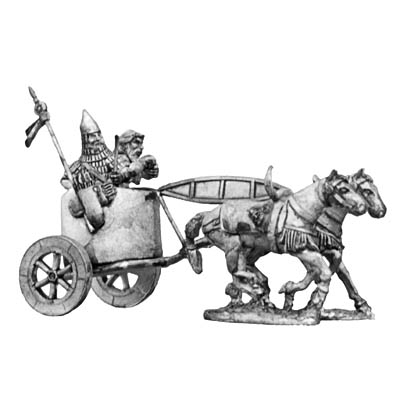 Assyrian early two horse chariot and crew
