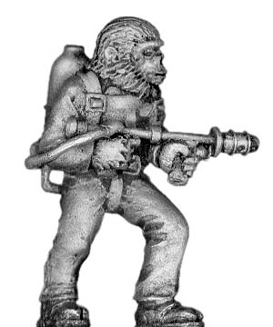 Boiler Suited Ape, with flame thrower