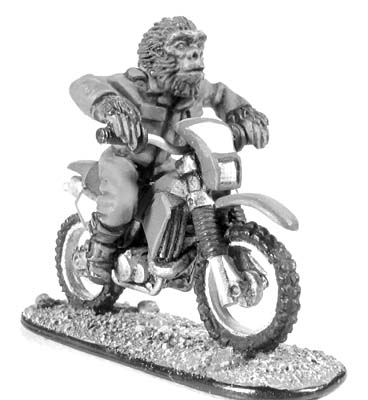 Boiler Suited Ape on motorbike