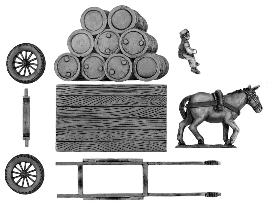 Flatbed mule cart with oil drums
