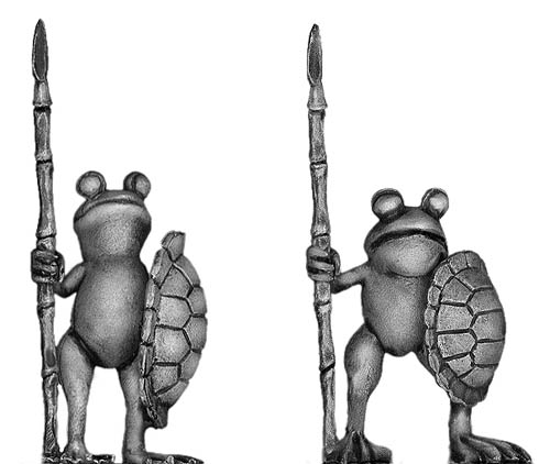 Frog with spear and turtle shell shield