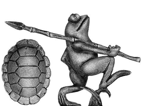 Frog marching with spear