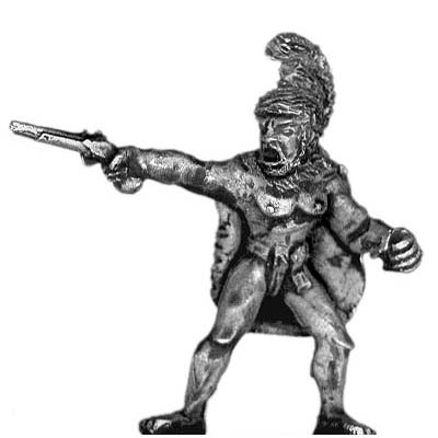 Warrior in regalia with pistol