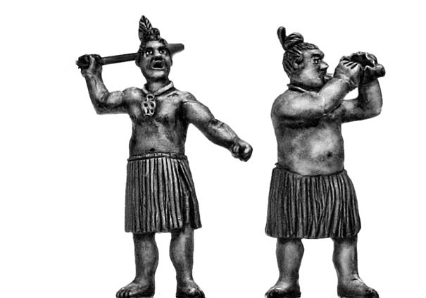 Maori musicians with bullroarer or conch