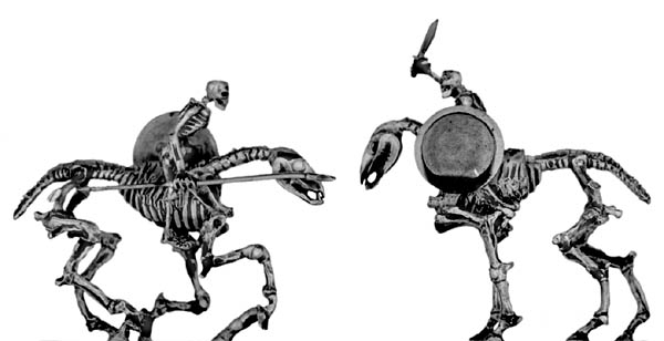 Skeletal horse and rider, with ancient Greek weapons