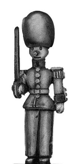 Toy Town Soldier Officer in busby at attention