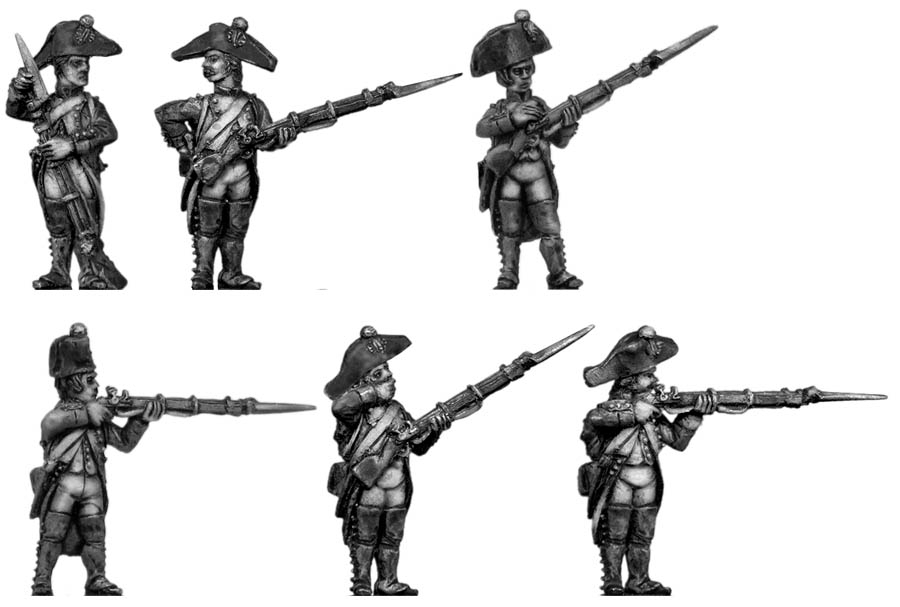 Fusilier, bicorne, regulation uniform, firing and loading