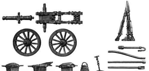 French 4-pdr gun with equipment