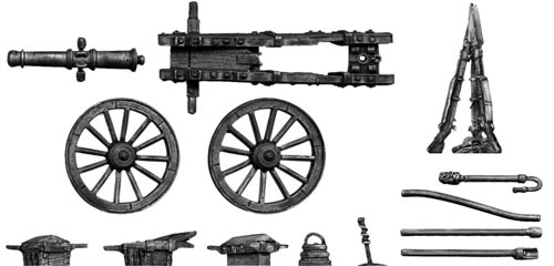 French 8-pdr gun with equipment