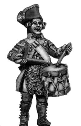 Russian Musketeer drummer, coat with lapels and collar, marching