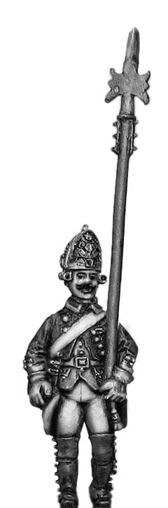 Russian Fusilier NCO, coat - no lapels, halberd, marching