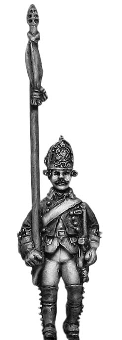 Russian Fusilier standard bearer, coat - no lapels, marching