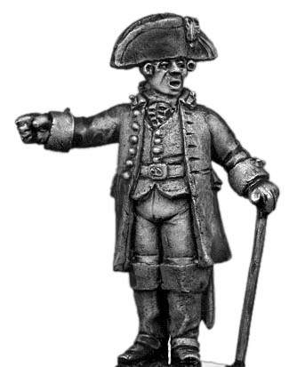 Artillery Officer, in flat fronted tricorne