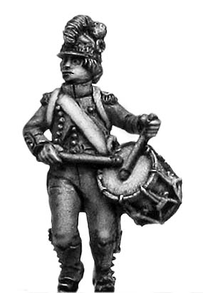 Light Infantry drummer c1793-96, casque helmet, short tailed jac
