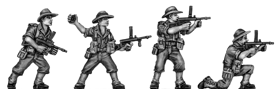 Australian infantry attacking, slouch hat, Owen gun