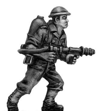 Australian infantry with flamethrower, helmet
