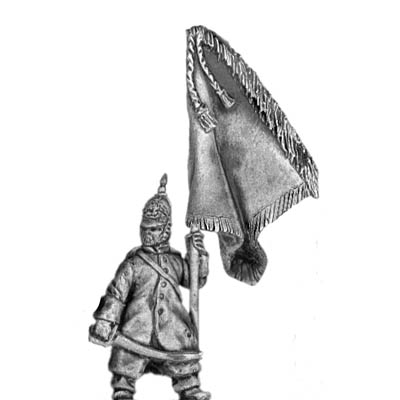 Russian Infantry Standard Bearer in greatcoat and helmet