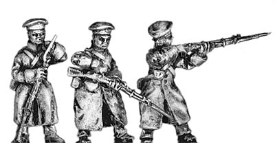 Russian infantry in greatcoat and cap, firing and loading