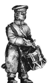 Russian infantry drummer in greatcoat and cap