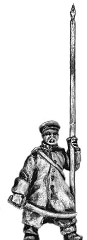 Russian infantry standard bearer in greatcoat and cap