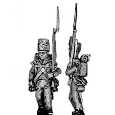 Flank company, marching, covered shako