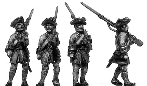 French musketeer, no turnbacks, marching