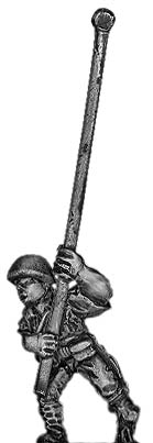 Japanese infantry standard bearer in helmet advancing