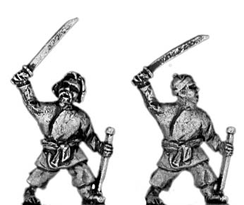 Swordsman with scabbard in left hand